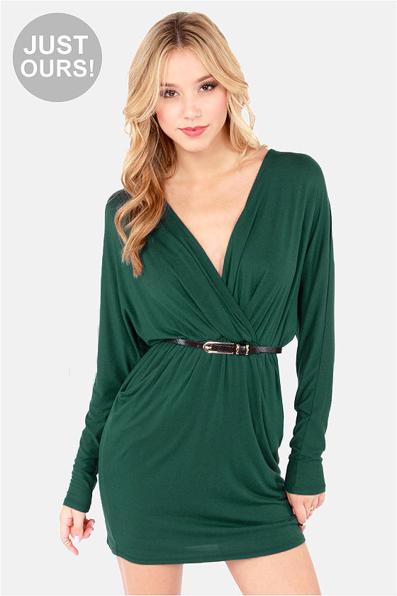 Sexy Hunter Green Dress - Wrap Dress - Long Sleeve Dress - $48.00