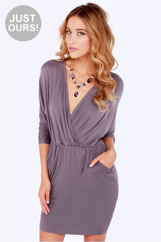 Sexy Dusty Purple Dress - Wrap Dress - Long Sleeve Dress - $48.00