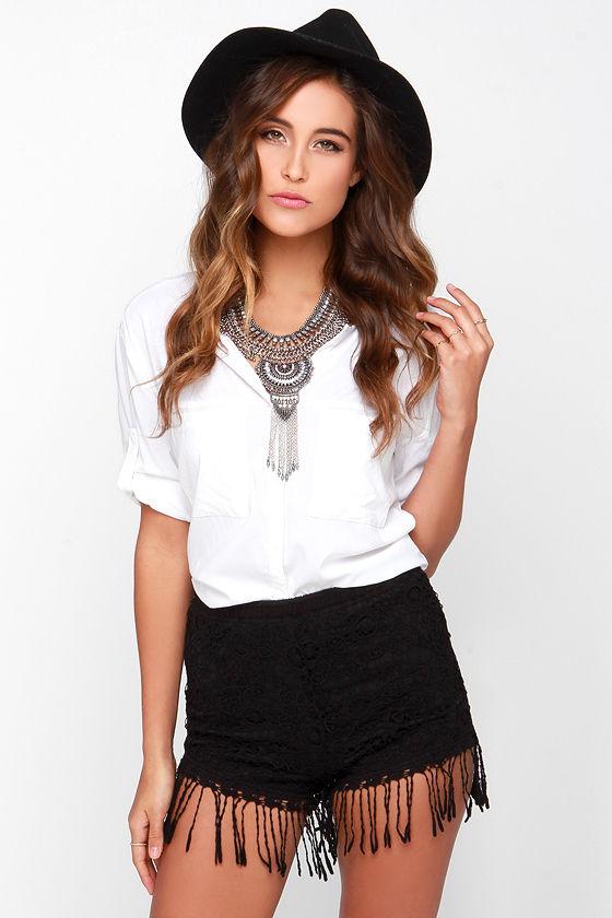 Let's Be Fringe Black Lace Shorts