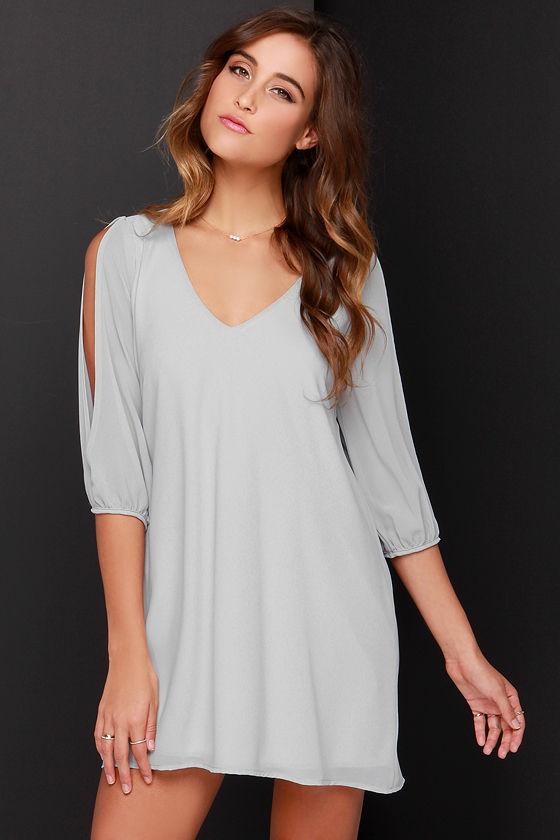 Pretty Grey Dress - Shift Dress - Cold Shoulder Dress - $44.00