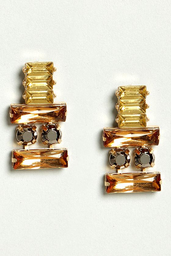 Thrilled To Be Ear Orange Rhinestone Earrings at Lulus.com!