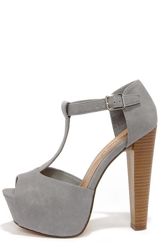 Cute Grey Heels - T-Strap Heels - Peep Toe Heels - Platform Heels -  32.00