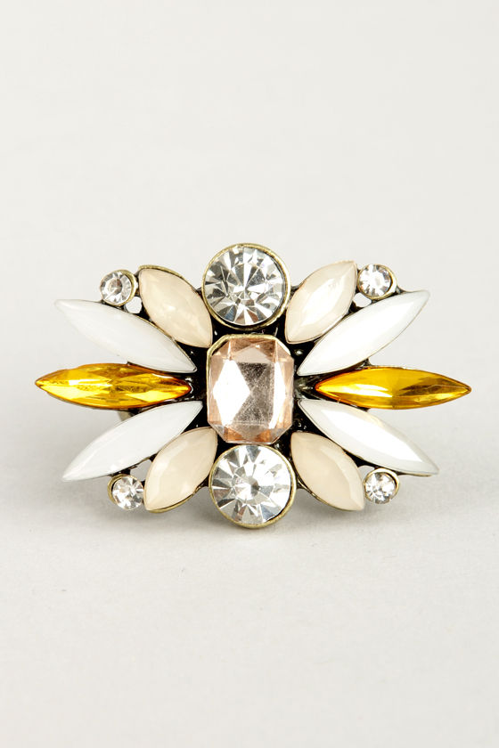 Bright About Now Yellow Rhinestone Ring at Lulus.com!