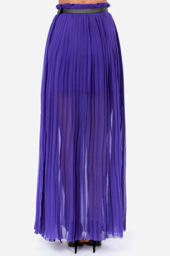 LULUS Exclusive Nice Pleats You Have Indigo Blue Maxi Skirt at Lulus.com!