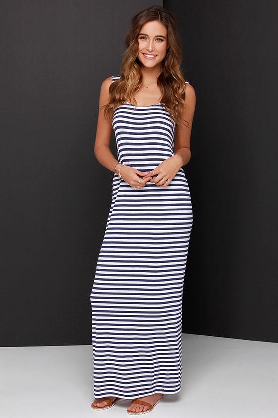 O&39Neill Paris - Navy Blue Dress - Striped Dress - Maxi Dress - $54.00