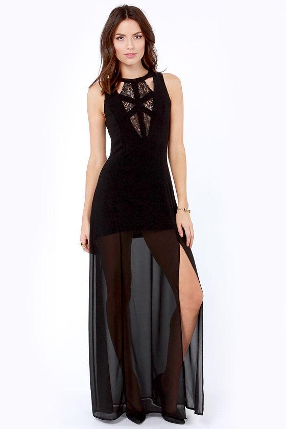 Stuff of Dreams Black Lace Maxi Dress at Lulus.com!
