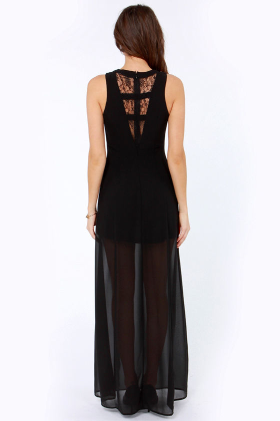Stuff of Dreams Black Lace Maxi Dress at Lulus.com!
