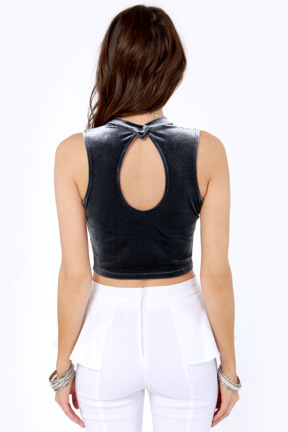 Sweet City Woman Dark Grey Velvet Crop Top at Lulus.com!