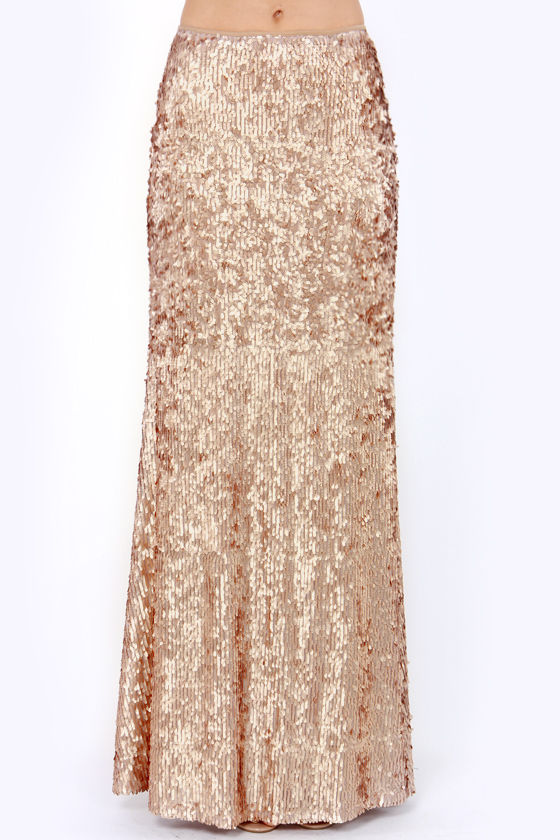 Pretty Gold Skirt - Sequin Skirt - Maxi Skirt - $95.00