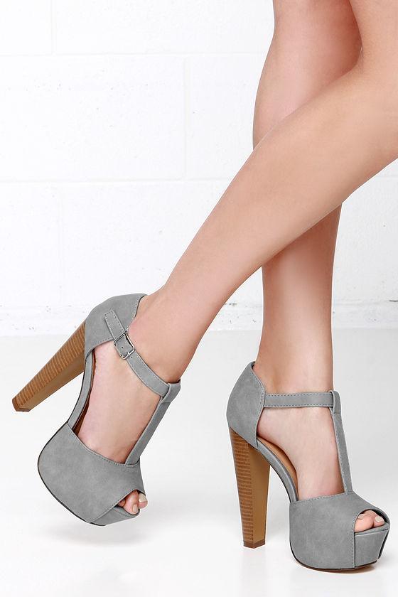 171b2fb1476d Cute Grey Heels - T-Strap Heels - Peep Toe Heels - Platform Heels ...