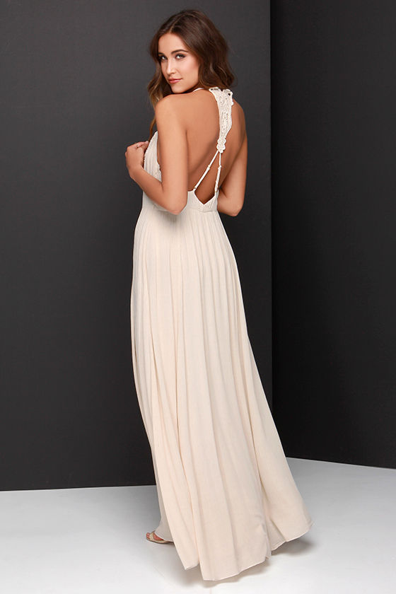 Bo-Hold Me Tight Beige Lace Maxi Dress at Lulus.com!