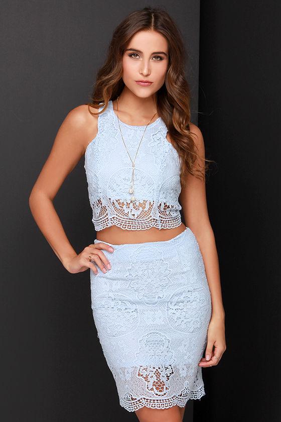 Chic Blue Dress Blue Lace Two-piece Dress