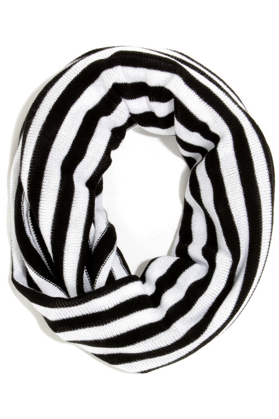 Line By Me Black and White Striped Infinity Scarf at Lulus.com!