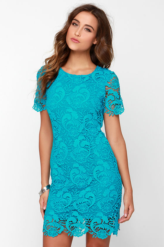 Chic Aqua Blue Dress - Lace Dress - Sheath Dress - $91.00