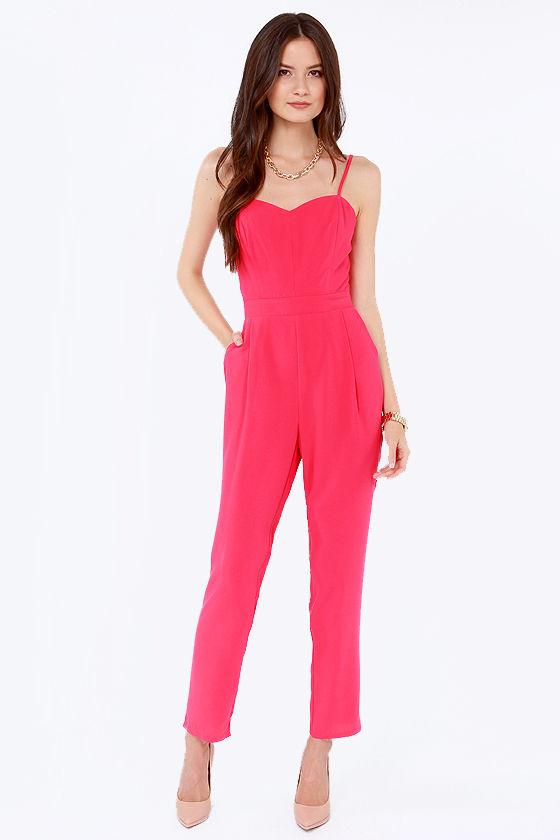 bb20fd18172 Cute Fuchsia Jumpsuit - Hot Pink Jumpsuit - Cutout Jumpsuit -  54.00