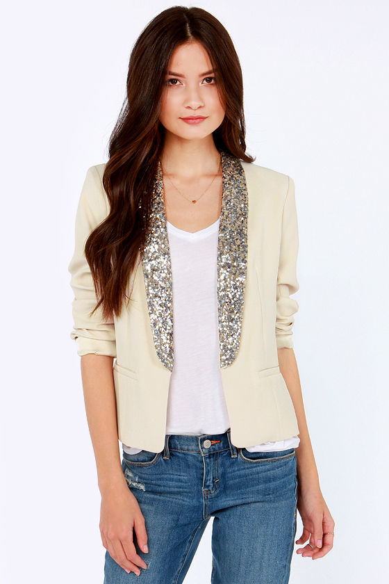 BB Dakota Belle Light Beige Sequin Blazer at Lulus.com!