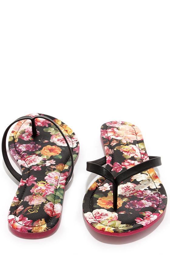 81ebbcfd3187 Cute Black Flip Flops - Floral Flip Flops - Thong Sandals -  12.00