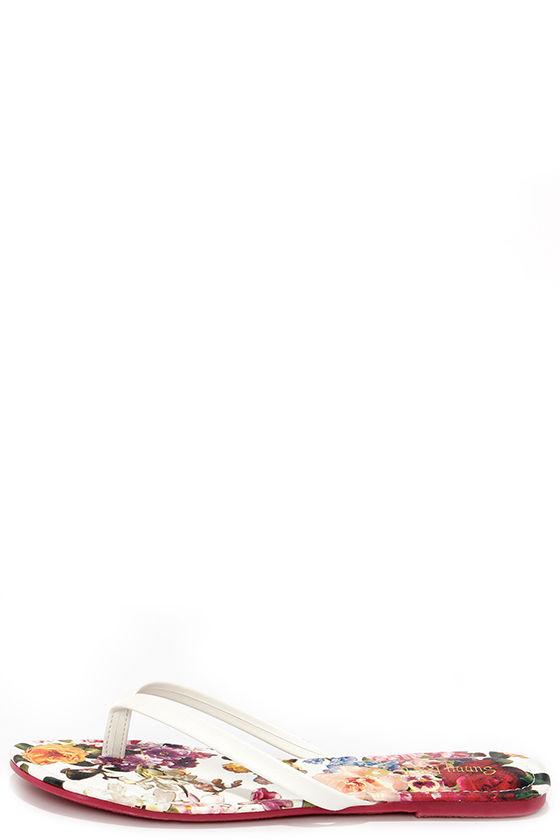 07801d57d664 Cute White Flip Flops - Floral Flip Flops - Thong Sandals -  12.00