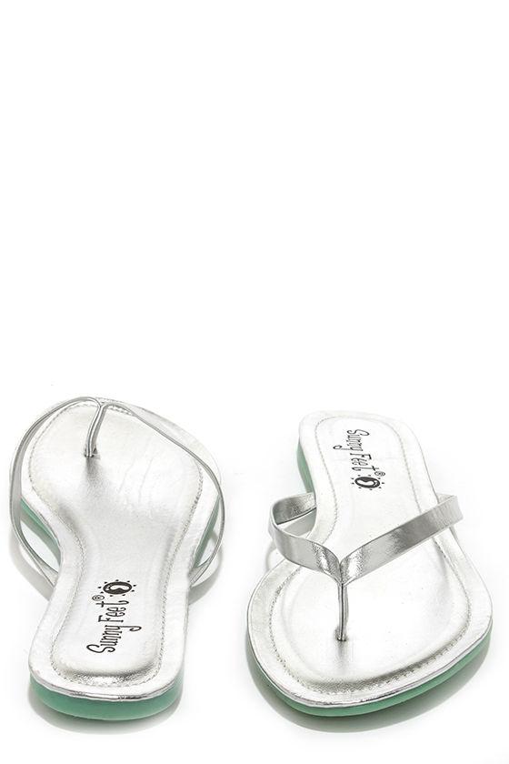 0a9817d12 Cute Silver Flip Flops - Silver Thongs - Thong Sandals -  12.00