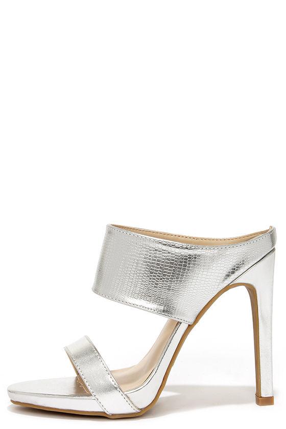 03b3c28dce1 Cute Silver Mules - Peep Toe Heels - Mules - Silver Heels -  31.00