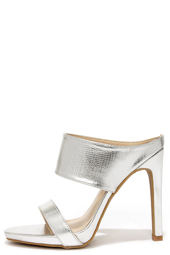 1e1831233b60f2 Cute Silver Mules - Peep Toe Heels - Mules - Silver Heels -  31.00