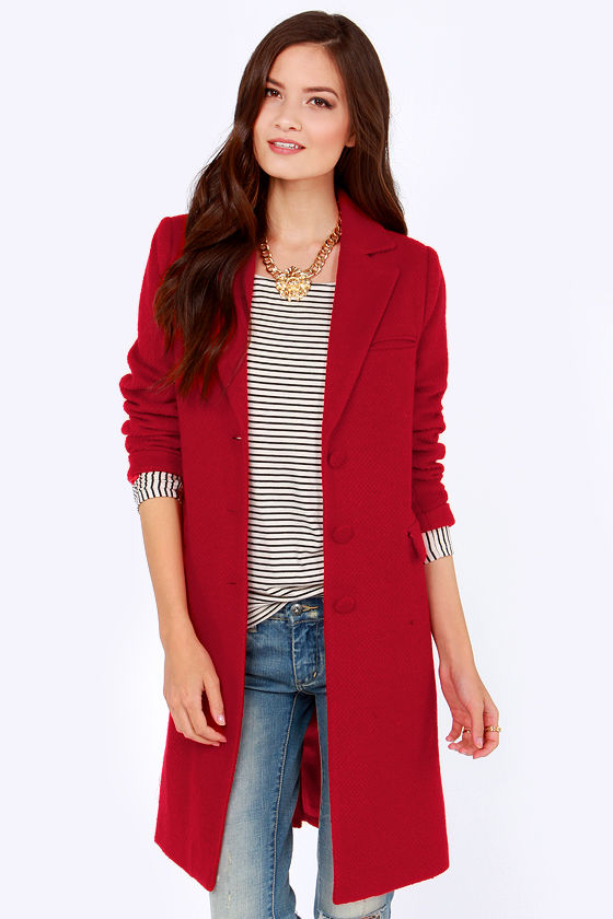 Cute Red Coat - Wool Coat - Long Coat - $85.00