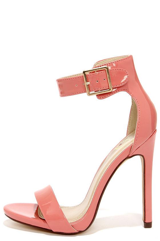 f28edd43157c Sexy Coral Heels - Single Sole Heels - Ankle Strap Heels -  27.00