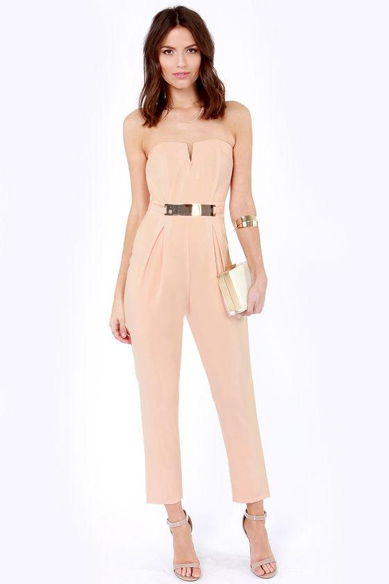 ec03471aadef Cute Peach Jumpsuit - Strapless Jumpsuit - Cropped Jumpsuit -  42.00