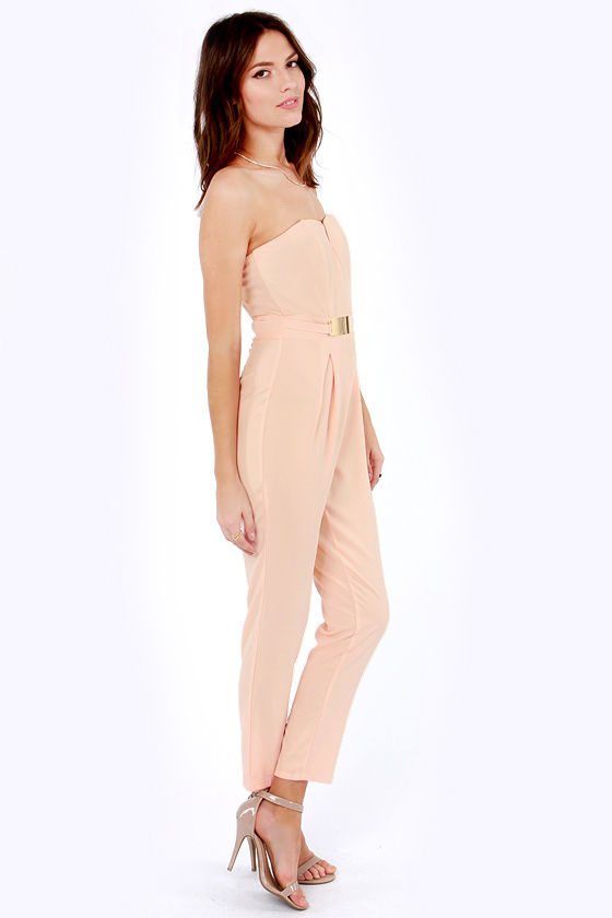 Step Up to the Plate Strapless Peach Jumpsuit at Lulus.com!