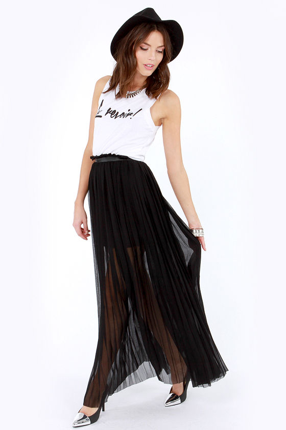 LULUS Exclusive Nice Pleats You Have Black Maxi Skirt at Lulus.com!