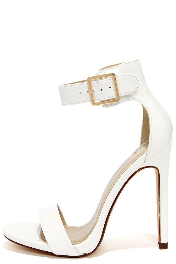 Sexy White Heels - Single Sole Heels - Ankle Strap Heels - $27.00