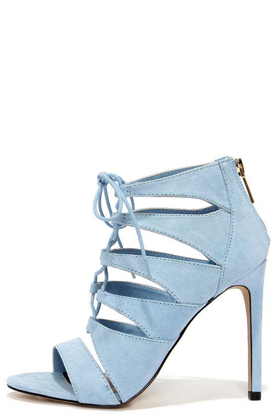 Cute Baby Blue Heels - Lace-Up Heels