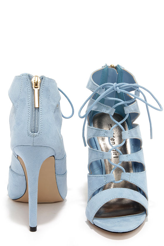 Cute Baby Blue Heels - Lace-Up Heels - Caged Heels - $49.00