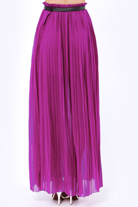 LULUS Exclusive Nice Pleats You Have Magenta Maxi Skirt at Lulus.com!