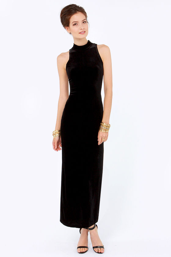 Mink Pink There She Goes Dress - Black Dress - Velvet Dress - Maxi ...