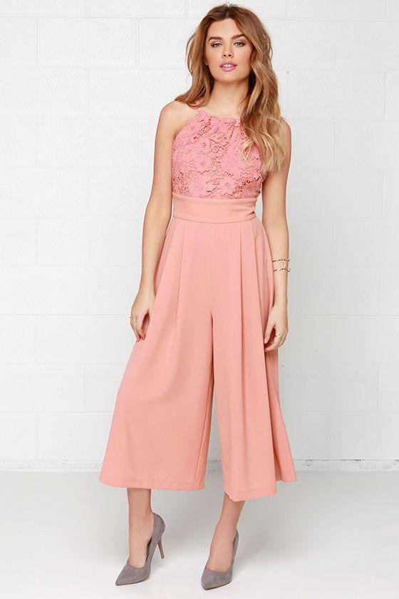 Chic Blush Pink Jumpsuit - Midi Jumpsuit - Lace Jumpsuit - $117.00