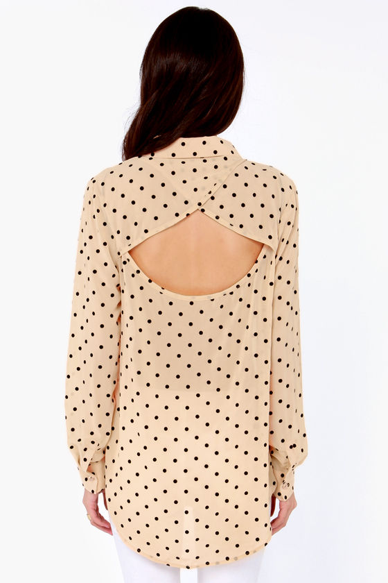 Mink Pink Luncheon Peach Polka Dot Top at Lulus.com!