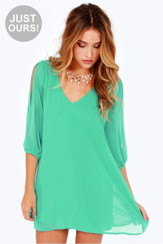 Green Chiffon Shift Dress