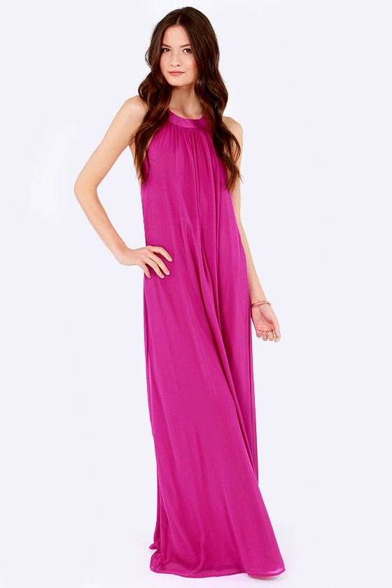 LULUS Exclusive T Party Magenta Maxi Dress at Lulus.com!