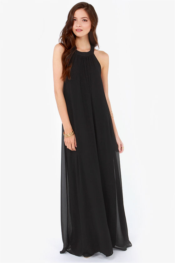 LULUS Exclusive T Party Black Maxi Dress at Lulus.com!