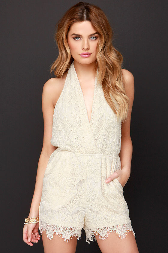 My One and Only Cream Lace Romper