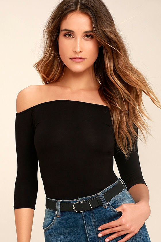 Cute Black Top - Off the Shoulder Top - Half Sleeve Top ...