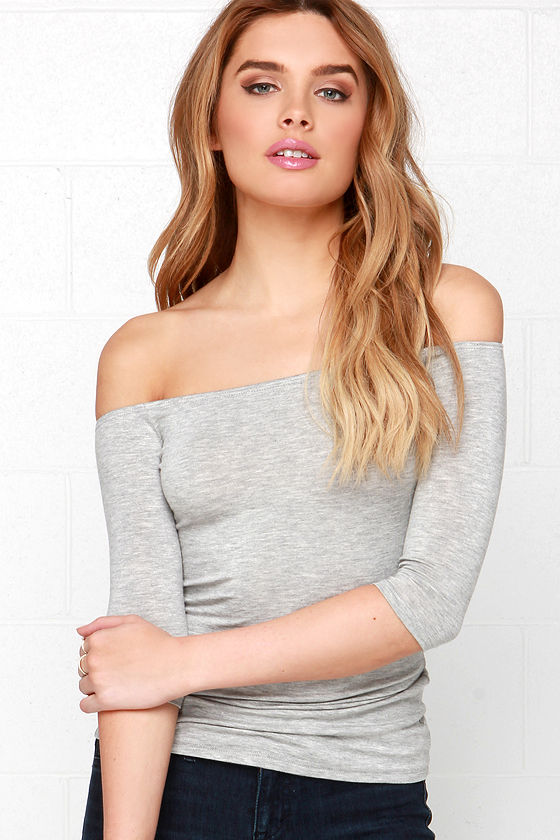 fddd32ae52 Cute Heather Grey Top - Off the Shoulder Top - Half Sleeve Top -  23.00