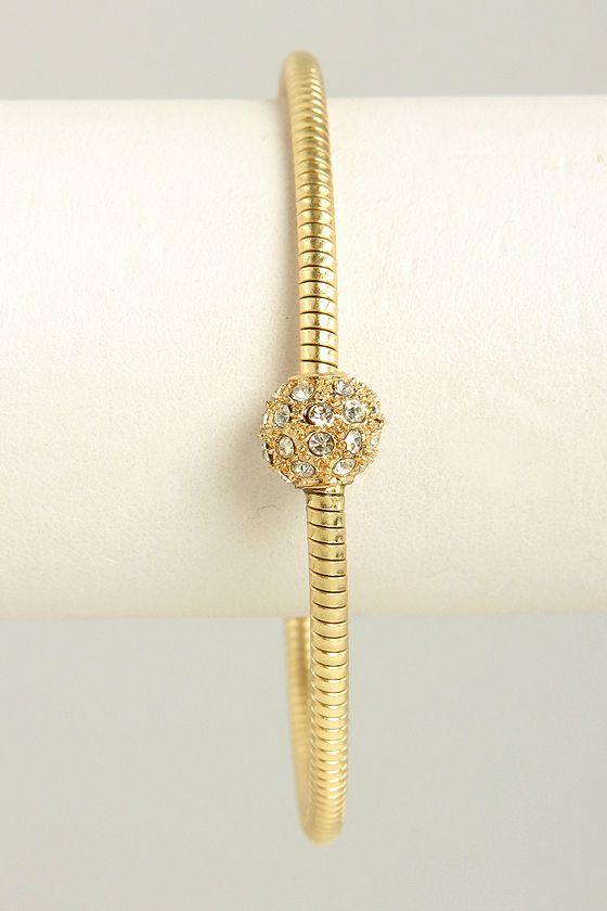 Spherical Dance Gold Rhinestone Bracelet at Lulus.com!