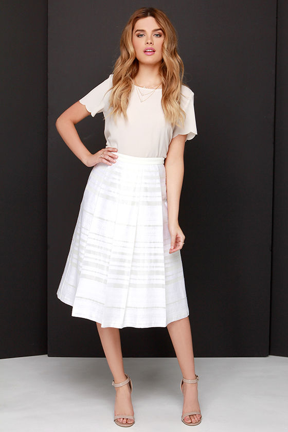 luxuriant in design limited sale best prices Pleats to be Here Ivory Embroidered Midi Skirt