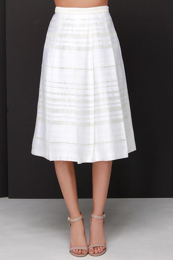 lovely ivory skirt midi skirt embroidered skirt mesh