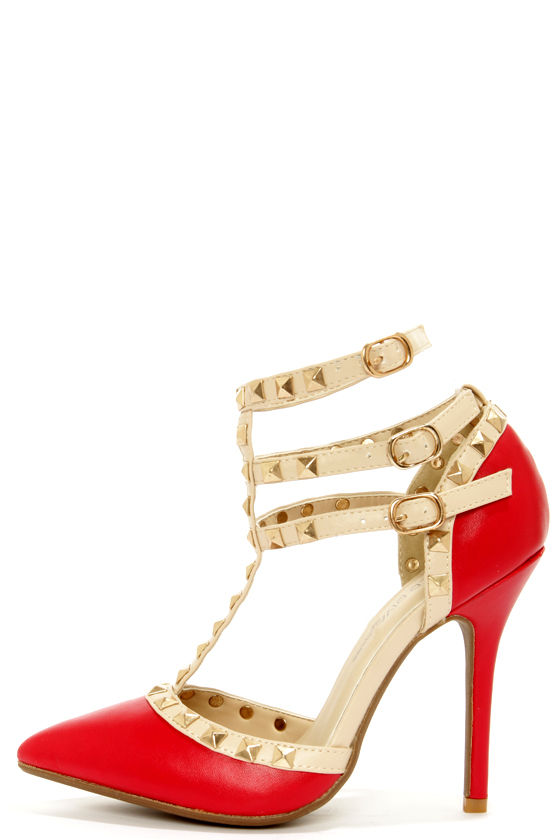 a8f0c00bdaa4 Cute Red Shoes - T-Strap Heels - Studded Shoes - Red Pumps