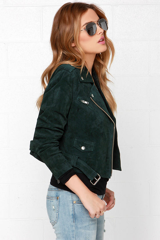 Obey City Moto - Forest Green Jacket - Suede Jacket - Leather