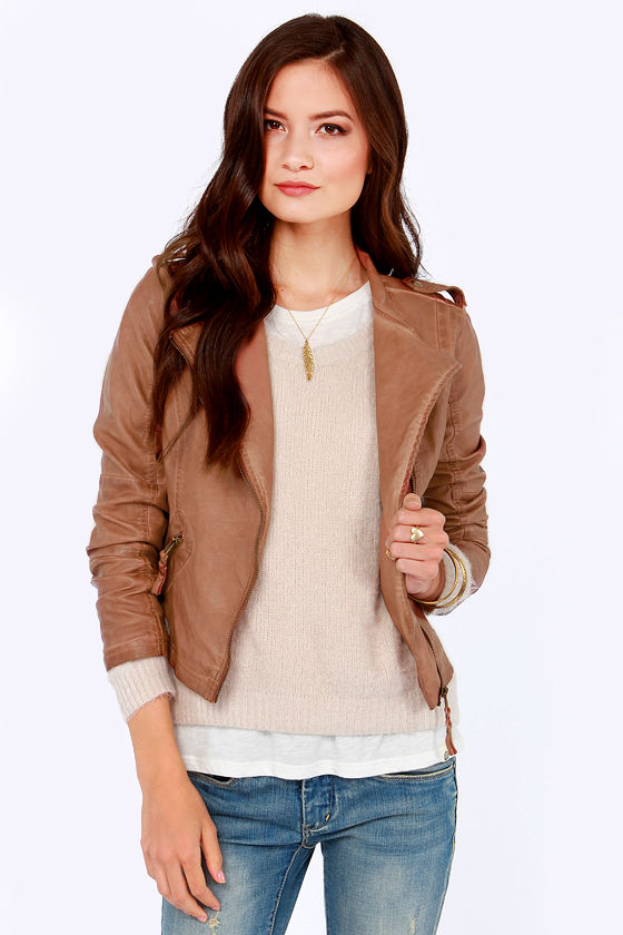 Black Swan Heart Brown Vegan Leather Jacket at Lulus.com!