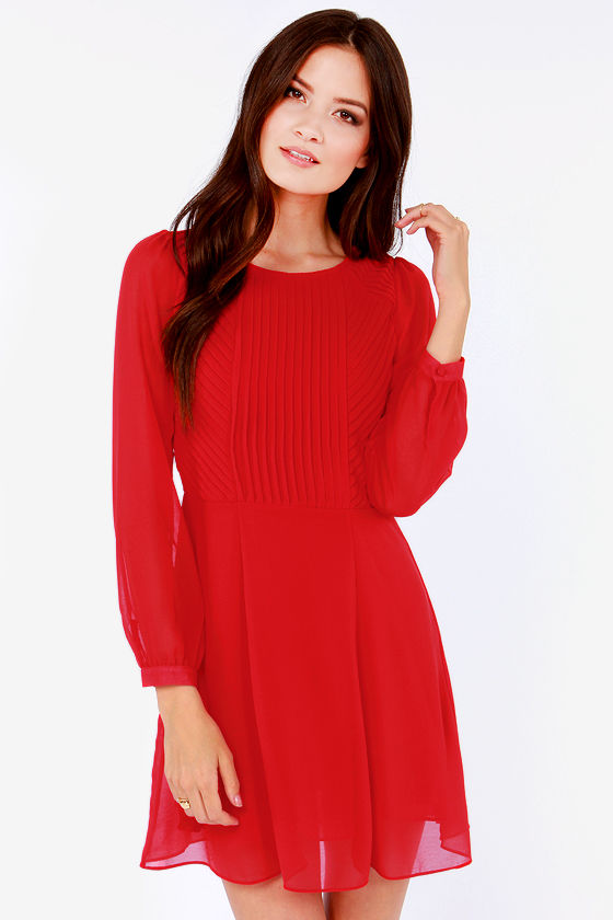 Lovely Long Sleeve Dress - Red Dress - Pleated Dress - $57.00